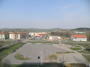 This is the pretty town square viewed from T & C's window
